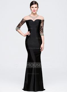 [US$ 130.99] Trumpet/Mermaid Scoop Neck Sweep Train Jersey Evening Dress With Beading Sequins