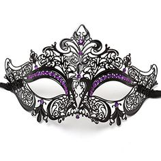 ILOVEMASKS Party Queen Venetian Mask Sparkling Purple Rhinestone-Black     #StPatricksDay #ForHim #ForHer #Holidays #GiftIdeas #Gifts #Affiliate