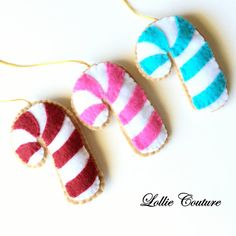 Felt Cookie Candy Cane ornament Set of 3  by ModernStyleHoliday