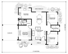 This three bedroom house concept is 90 square meters total floor area which requires at least 230 square meters lot area. With this area the setback at the right side is meters with the garage … Dream House Plans, Modern House Plans, Small House Plans, Bungalow Haus Design, Modern Bungalow House, Bungalow Floor Plans, Home Design Floor Plans, Three Bedroom House Plan, Bedroom Floor Plans