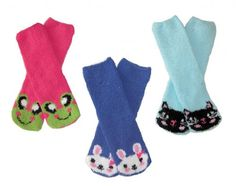 RSG Hosiery Soft and Cuddly Kids/Womens Animal Fuzzy Socks 3-Pack (Pink Frog/Blue Bunny/Aqua Kitty Cat)