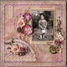 Cecilia with her purse - Scrapbook.com- A beautiful floral and feminine layout to document family history
