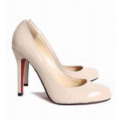 Cheap Christian Louboutin Round Toe Stiletto Heel Nude Patent Leather Pumps on Sale