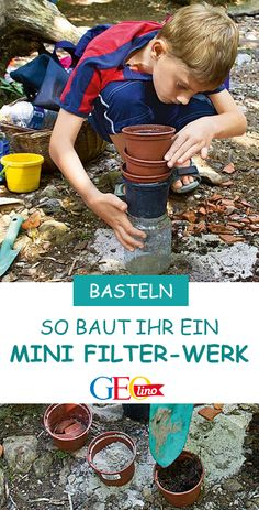 Mini sewage treatment plant - You want to know how a water filtering sewage works? Then give this experiment a try – with build - Planting For Kids, Sewage Treatment, Natural Playground, Halloween Party Games, Patio Plants, Adhd Kids, Kids Corner, Kindergarten Activities, Baby Elephant