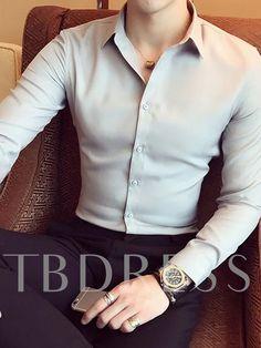 Casual Lapel Plain Color Men's Shirt Formal Dresses For Men, Formal Men Outfit, Formal Shirts For Men, Mens Dress Outfits, Stylish Mens Outfits, Mens Fashion Outfits, Stylish Shirts, Designer Suits For Men, Indian Men Fashion