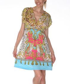 Look what I found on #zulily! Yellow & Turquoise Safari Dress #zulilyfinds