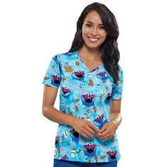 Tooniforms by Cherokee Women's Cut V-Neck Cookie Monster Print Scrub Top Dental Scrubs, Nursing Scrubs, Cute Scrubs, Cherokee Woman, Scrubs Uniform, Scrub Tops, V Neck Tops, Work Wear, Floral Tops