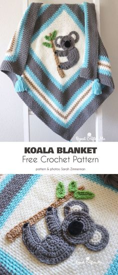 Koala Inspired Project Free Crochet Patterns (Your Crochet) Crochet Afghans, Crochet Quilt, Crochet Blanket Patterns, Baby Blanket Crochet, Baby Patterns, Crochet Baby, Free Crochet, Knit Crochet, Crochet Blankets