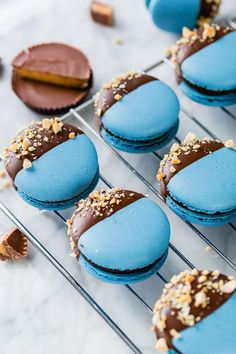Chocolate - Move over cupcakes, macarons are the new show in town. While France has been the proud purveyor of macarons for a few hundred years, we Americans are just now getting on the bandwagon and enjoying the countless colors and flavors of … Köstliche Desserts, Delicious Desserts, Yummy Food, Plated Desserts, Healthy Desserts, Healthy Recipes, Chocolate Peanuts, Chocolate Peanut Butter, Chocolate Dipped