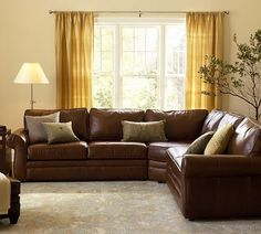 Pottery Barn Pearce Leather L-Shape Sectional with Wedge Living Room Decor Brown Couch, Living Room Sectional, Living Room Paint, New Living Room, Living Room Sets, Living Room Designs, Living Room Furniture, Leather Sectional Sofas, Brown Sectional