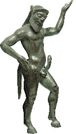 Bronze figurine of an ithyphallic Silenus from the sanctuary of Zeus at Dodona. 540-530 B.C.    Dancing in ecstasy, this figure is a masterpiece of the Corinthian workshops producing metal artifacts.