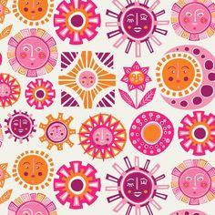 Sun Wallpaper, Pink - eclectic - wallpaper - Jonathan Adler