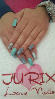 Turquoise, Grey and Glitter Manicure