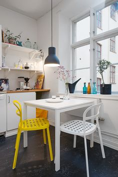 white and yellow in the kitchen