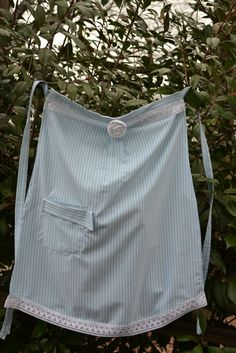 Apron Upcycled from Men's Casual Shirt by AcornHillHome on Etsy, $20.00.  My blog at http://www.acornhillhome.blogspot.com/.