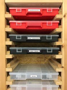Garage Organisation, Diy Garage Storage, Workshop Organization, Shop Storage, Storage Hacks, Ikea Ivar Regal, Woodworking Shop, Woodworking Projects, Wooden Wall Shelves