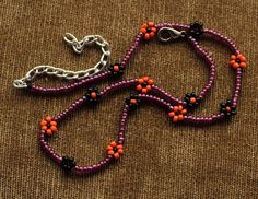 Collar Necklace Black , Purple & Orange Daisy Seed Beads Handmade #Handmade #Choker
