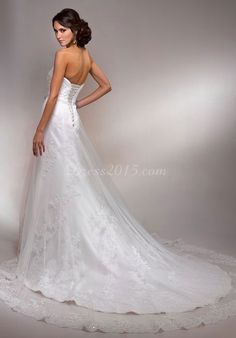 Chapel Train Beading Lace Elegant Strapless Wedding Dress picture 2