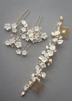 LYRIC wedding headpiece in gold 3 Headpiece Wedding, Bridal Headpieces, Boho Wedding, Bridal Hair, Wedding Crowns, Wedding Ideas, Clay Flowers, Floral Hair, Swarovski Pearls