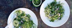 Pasta med grønnkålpesto og dill