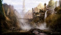Today's artist spotlight features Matt Allsopp, a concept artist who works for the UK design studio Leading Light Conceptual Design which has provided Picturesque Fabel 2 and Killzone 2 environments and concepts. Fantasy City, Fantasy Castle, Fantasy Places, Fantasy World, Space Fantasy, Environment Concept Art, Environment Design, Medieval, Fable Ii