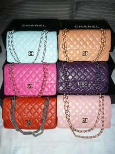 ❦ Another rainbow...beautiful Chanel bags.