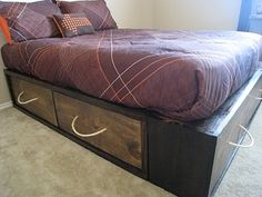 make your own storage bed base - i would definitely use some cuter handles from hobby lobby!