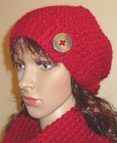 Red Cranberry color Slouchy Beanie Hat and a Cowl by LolasWonders