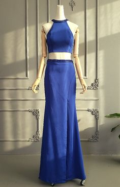 Unique Two Pieces Long Royal Blue Beaded Special Occasion Prom Dress With Cutouts And Slit Winter Prom Dresses, Royal Blue Prom Dresses, Orange Blush, Purple Grey, Prom Dresses Online, Two Pieces, Midnight Blue, Hot Pink, Special Occasion