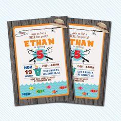 Digital Printable Fishing Birthday Invitation. by kodomoartshop