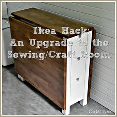 Ikea Norden Table, Norden Gateleg Table, Ikea Table Hack, Sewing Room Decor, My Sewing Room, Ikea Kallax Shelf Unit, Montreal, Stained Table, Sewing Table