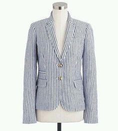 J.Crew Blue White Linen Schoolboy Blazer Striped Jacket Sz 0 Career #ShoptheLook