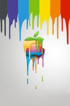 Retro Paint Apple Logo.