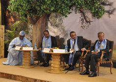 Former President of Nigeria Olesegun Obasanjo, President Hassan Sheikh Mohamud, Prime Minister Hailemariam and Professor Andreas Eshete take part in panel discussion at Tana Forum. Former President, Prime Minister, High Level, Ethiopia, Professor, Presidents, Africa, Afro