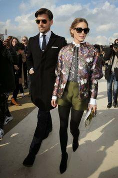 Paris Fashion Week 2014 :Olivia Palermo with Johannes Huebl at Valentino