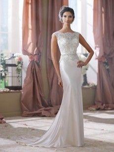 Slida/Kolumn Slagträeau/Båtringning Sweep Släp Elastisk Vävt Satäng Wedding Dresses