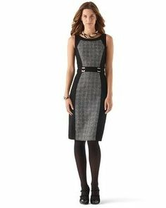 White House | Black Market Tweed-Paneled Ponte Sheath