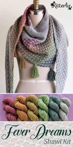 Fever Dreams shawl knitting kit by Spincycle Yarns. #kitterlykits