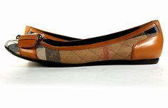 BURBERRY Shoes 6.5 NOVA CHECK Quilted Fabric & Brown Leather Ballet Flats *PRIMO #Burberry #BalletFlats