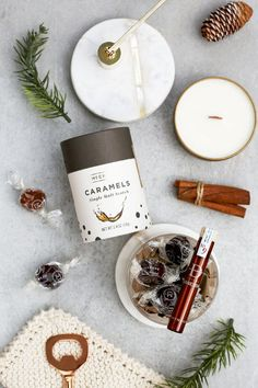 Boozy themed gift ideas without the hangover! Perfect hostess gifts and stocking stuffers. Hand crafted and slow cooked. These luxurious caramels are peaty and rich, spiked with smoky Ardmore Scotch. Intoxicating flavor, no hangover. Unique Gifts For Men, Easy Gifts, Cool Gifts, Hostess Gifts, Holiday Gifts, Food Gift Baskets, Gourmet Food Gifts, Custom Gift Boxes, Company Gifts
