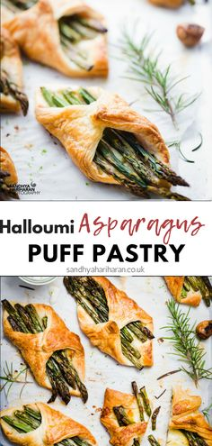 These delicious vegetarian Asparagus Puff Pastry with Rosemary Aioli are ready in just a few minutes. Serve them as an appetiser or even for supper:) #puffpastry #starter #appetiser #halloumi #asparagus #vegetarian