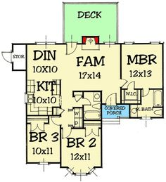 House plan number - a beautiful 3 bedroom, 2 bathroom home. Starter Home Plans, Narrow Lot House Plans, L Shape, Floor Plans, House Design, How To Plan, Garden, Choices, House Ideas