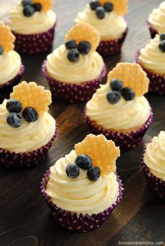 blueberry cupcakes with lemon frosting [made with Greek yogurt & frosting made with lowfat cream cheese] via foxes love lemons