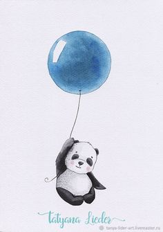 Buy a panda in a balloon. Watercolor in the online store at the Fair of Masters - Pink Unicorn Panda Wallpapers, Cute Wallpapers, Watercolor Illustration, Watercolor Art, Panda Art, Panda Love, Cute Animal Drawings, Baby Art, Nursery Art