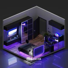 Gamer Bedroom, Bedroom Setup, Room Design Bedroom, Boys Bedroom Decor, Bedroom Layouts, Room Ideas Bedroom, Small Game Rooms, Video Game Rooms, Gaming Room Setup