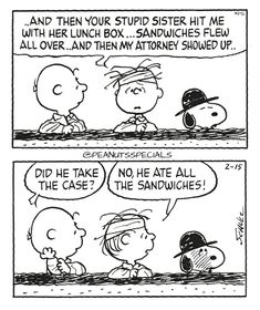 First Appearance: February 15th, 1991 #peanutsspecials #ps #pnts #schulz #snoopy #charliebrown #linusvanpelt #stupid #sister #lunchbox #sandwiches #flew #attorney #showedup #take #case #ate www.peanutsspecials.com