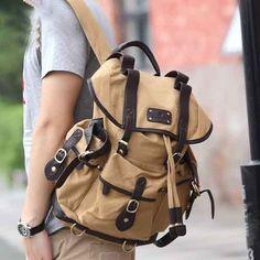 Outdoor #Canvas #School Multi Pocket #Backpack