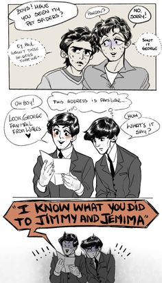 """polmcarts: """" One of my favourite Mcharrison stories ♥ Jimmy and Jemima; you will never be forgotten. Beatles Meme, Beatles Art, The Beatles, Fanart, The Quarrymen, Bug Boy, The Fab Four, Ringo Starr, George Harrison"""
