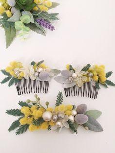 ミモザの髪飾り ブートニアセット