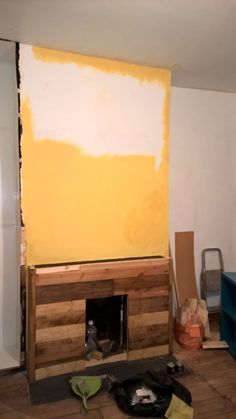 7.)  Meanwhile back in the Dining Room, I get a tad overexcited & start painting the chimney breast in full.